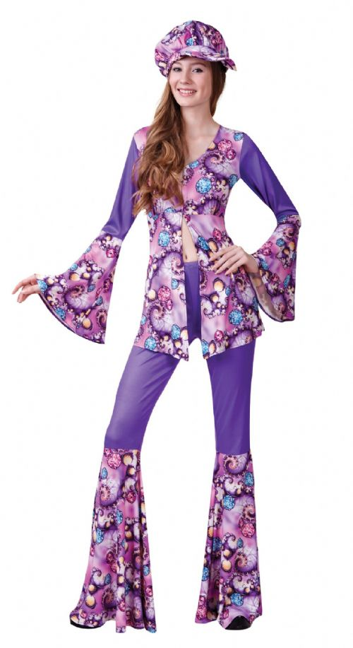 Ladies Groovy Hippy Woman Costume 60s 70s Hippie Mod Fancy Dress Outfit